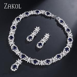 Image 2 - ZAKOL Trendy Style White Color Green Zirconia Bride Wedding Jewelry Set Flower Earrings Necklace For Europe Women FSSP2007