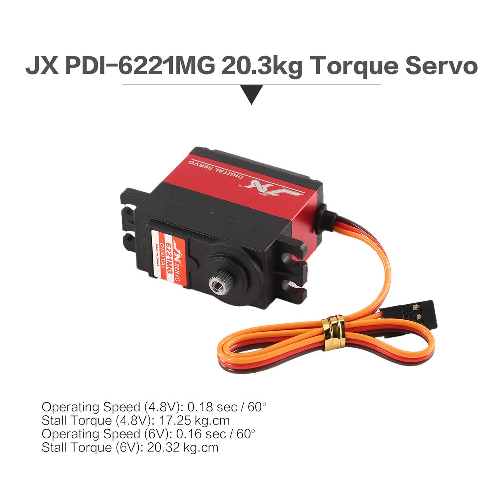 JX PDI 6221MG Metal RC Servo Gear 4.8V 6V 0.16sec/60 Digital Servo 20.3kg Torque Aluminums for 1/10 1/8 RC Car/HHK big Airplane|Parts & Accessories| |  - title=