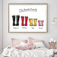 Cuadro en lienzo moderno para decoración del hogar, pósteres e impresiones modulares de alta definición con nombre personalizado, Botas de lluvia para la familia