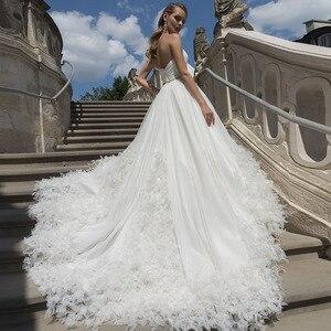Image 3 - Vestidos de casamento de princesa, vestido de casamento de cintura cristal, plissado, com decote nas costas nuas, branco plus size