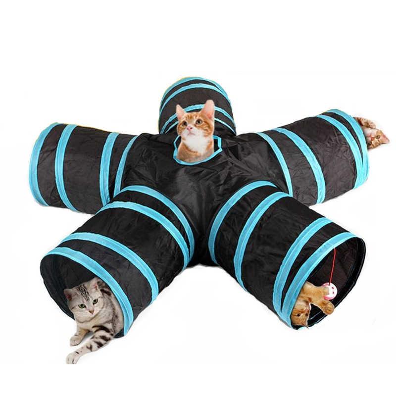 3/4/5 otwory tunel dla kota zabawki śmieszne interaktywne grać w szczeniaka tunel Tube składany kryty na świeże powietrze dla zwierząt domowych zabawka szkoleniowa dla małe zwierzęta