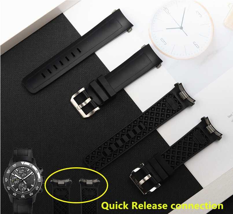 22mm kaliteli kauçuk silikon saat kayışı için IWC kayış AQUATIMER aile kordonlu saat IW356802/376705/376710/376711/376708/356801