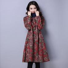 Womens Elegant Dress With sleeve Vintage dresses Plus size Winter Turtleneck Ladies Floral Female Clothes Vestidos