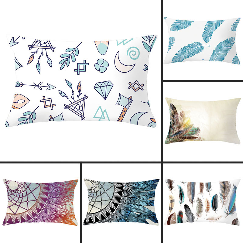 1pcs 30x50cm Nordic Wind Feather Print Pillowcase Polyester Peachskin Pillowcases Waist Pillow Cover Decorative Pillows Cover