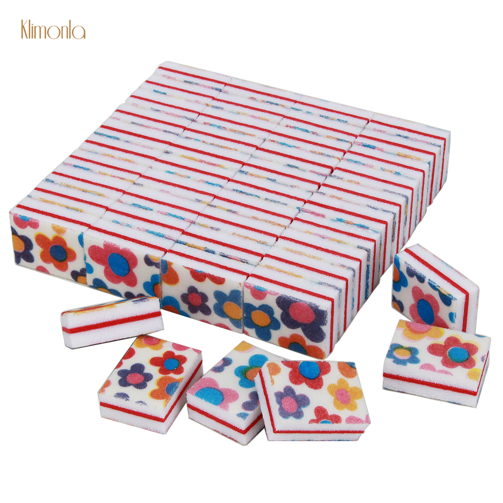 200Pcs Mini Sponge Nail File Colorful New Flower Artificial Nail Tools Disposable UV Gel Polish Manicure Set Block Nail Files