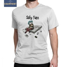 Sally Face T-Shirt Men Sal Fisher Mask Larry Johnson Game Funny 100% Cotton Tees Short Sleeve T Shirt Graphic Clothing(China)