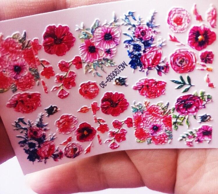 1 Sheet Water Transfer 3D Nail Decals Nail Art Floral Nail Water Transfer 6D/3D Water Nails Sticker Nail Wraps 3 D Nail Slider