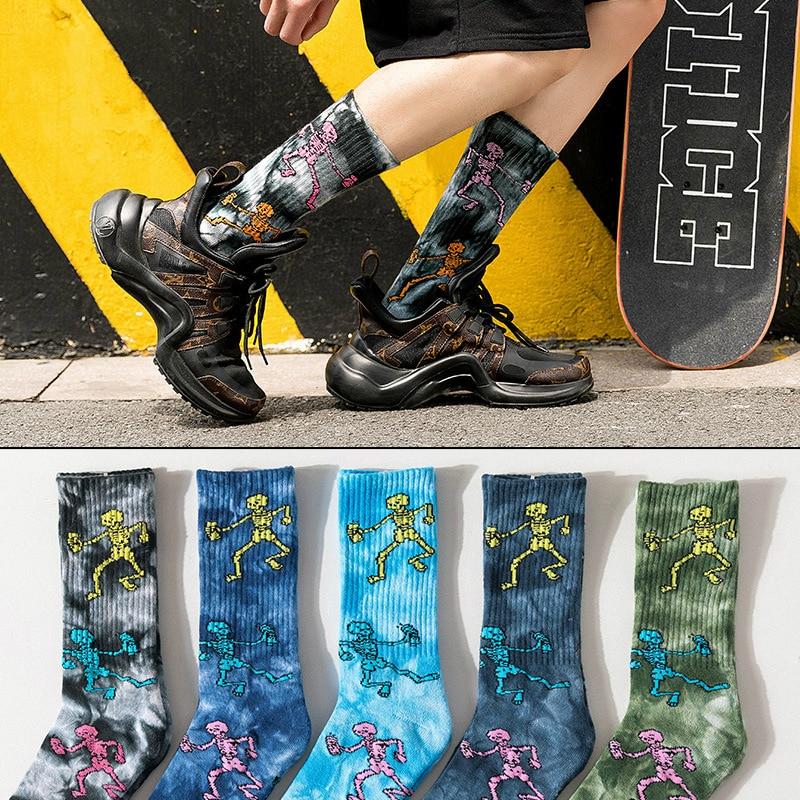 1Pair Crew Socks Casual Socks Cotton Thick Cartoon Bones Designs Mid Length Street Socks Sports Pile Up Sweat Absorb Tie-dyed