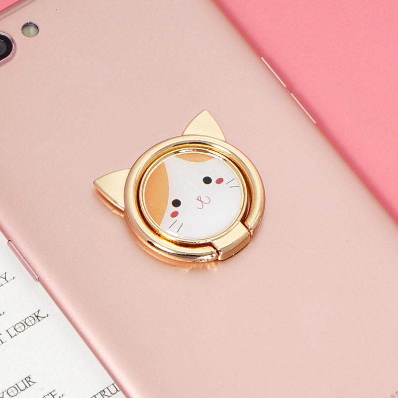 Cute Cat Metal Finger Ring Holder Mobile Phone Desktop Ring Stand For IPhone 7 Xiaomi Huawei Universal Luxury Phone Ring Support