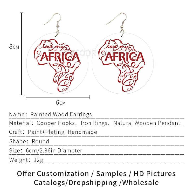 SOMESOOR אהבה שלי אפריקה עץ זרוק עגילי עם האפרו המולדת מפת דפוס מול בחזרה הדפסת נשים עץ להתנדנד תכשיטי מתנה
