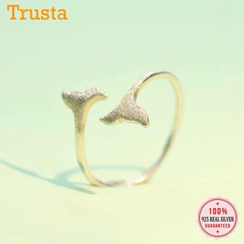 Trusta 2018 ใหม่ 100% 925 เงินสเตอร์ลิงแฟชั่นผู้หญิง Mermaid TAIL แหวนขนาด 5 6 7 ของขวัญที่ยอดเยี่ยมสำหรับหญิงวัยรุ่น Lady's DS586