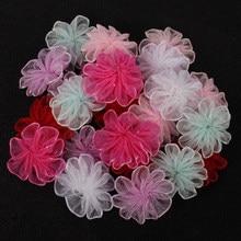 Lucia artesanato 24 pçs 22mm organza bowknot meninas flor roseta arco headwear material diy acessórios de costura vestuário b0905
