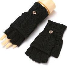 Pół z efektem poruszania palcem rękawiczki zimowe z czapkami z dzianiny bez palców rękawiczki do obsługiwania ekranów dotykowych dla mężczyzn kobiety rękawice z odsłoniętym palcem