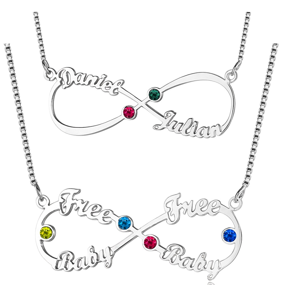 Infinity Necklace With 2 Name Customized Couple Name Necklace Infinite Pendent Nameplate With Birthstones