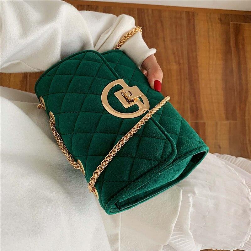 Vintage Fashion Female Plaid Square Bag 2019 New Quality Velvet Women's Designer Handbag Lock Chain Shoulder Messenger Bags