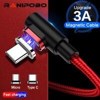 Cavo dati magnetico Ranipobo 3A Micro USB cavo dati di tipo C a ricarica rapida per Samsung Blackview caricabatterie magnetico Huawei Xiaomi LG