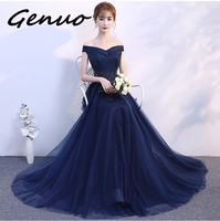 Genuo New 2019 Vintage Navy Blue Women Girls Lace Dresses Elegant Appliques Beadig Long Evening Party Dresses Formal Dress