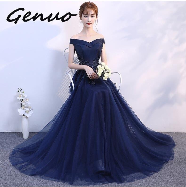 Véritable nouveau 2019 Vintage bleu marine femmes filles dentelle robes élégantes Appliques Beadig longue soirée robes de soirée robe formelle
