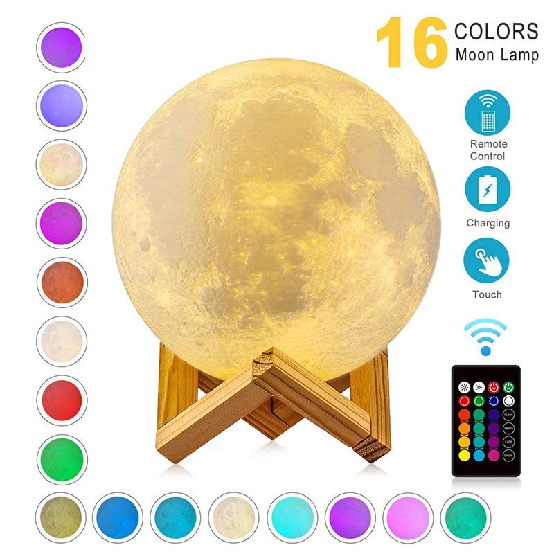 ZK20 Ha Condotto La Luce di Notte 3D Stampa Luna Cambiamento di Colore Della Lampada Ricaricabile 3D Luce Touch Luna Lampada per Bambini Lampada di Notte per La Casa