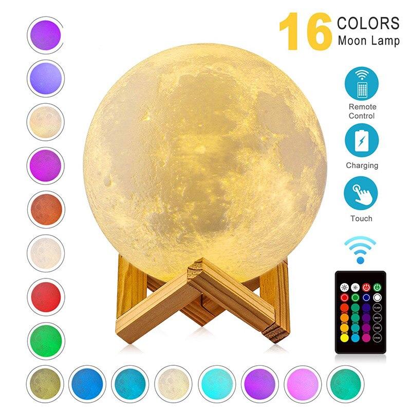 ZK20 lampe de nuit avec lune imprimée en 3D, changement de couleur Rechargeable, lampe de lune pour enfants