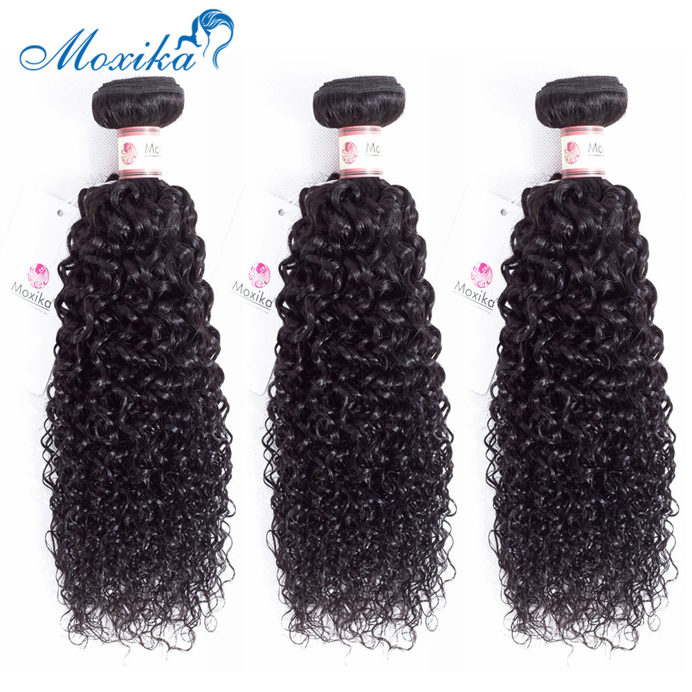 Moxika Hair Mongolian Kinky Curly Hair 3 Bundles L Remy Human Hair Weave Extensions Natural Black Free Shipping 8-26inch