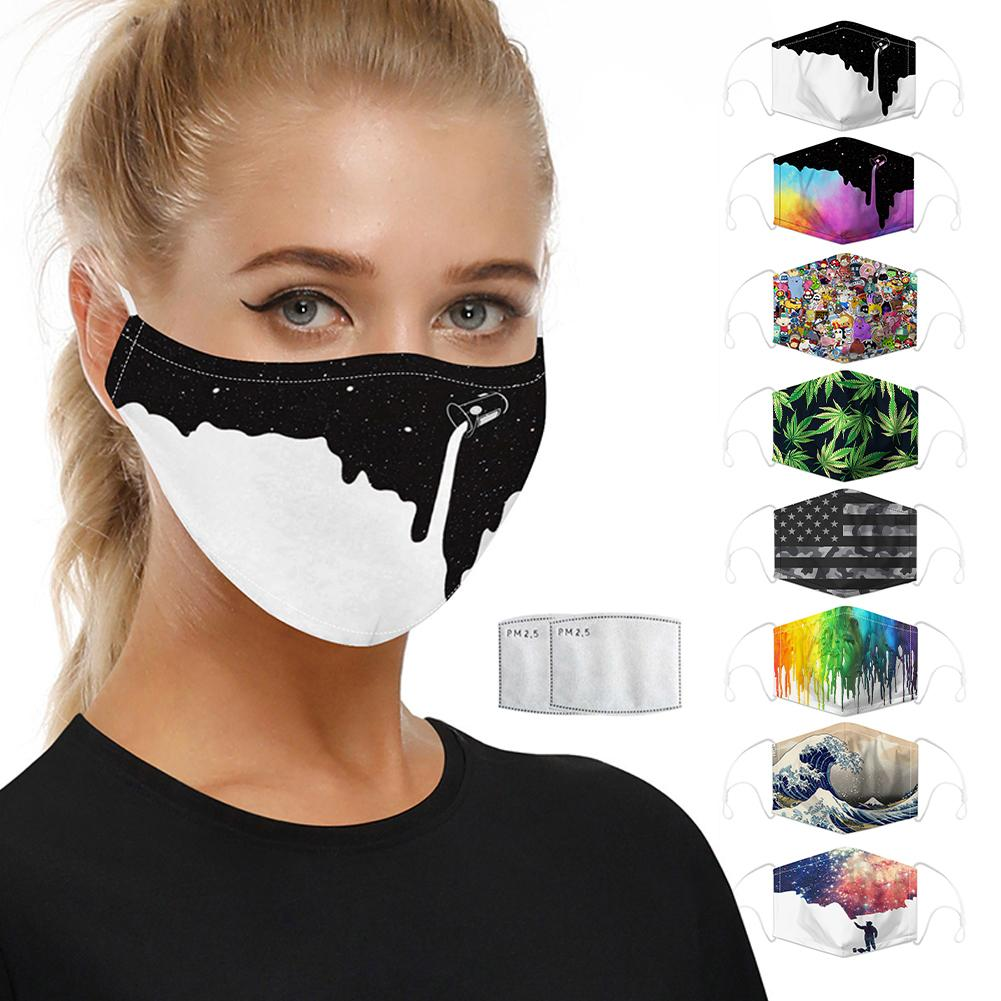 Reusable Dustproof Face Field Adjustable Printed Protective With 5-layer Filtration Breathable Face Cover For Outdoor Cycling