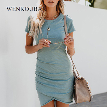 Sexy Dresses Women Summer Mini Dress  Short Sleeve Solid Bodycon Slim Party Dress Casual Bodycon Beach Dress Vestido Plus Size 1