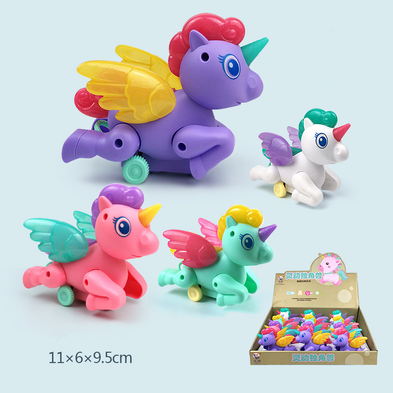 Funny Wind Up Toys For Boy Rope Glowing Clockwork Toy ABS Children's Jump Chicken Unicorn Toy For Kids Pull Back Toys