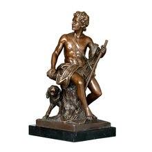 Статуэтка охотника с собакой Классическая Бронзовая статуэтка