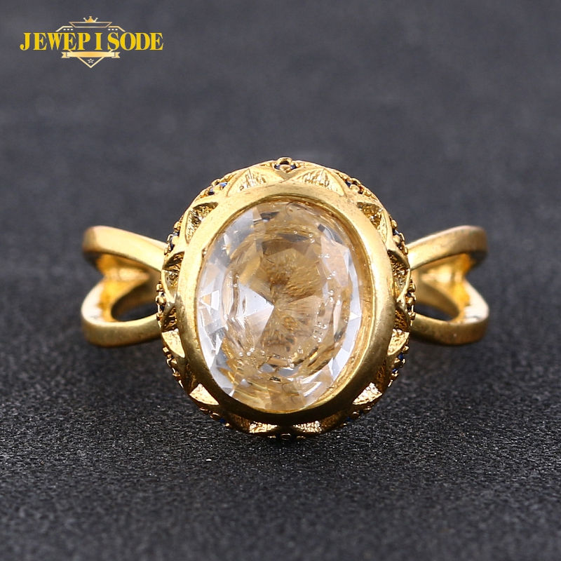 Jewepisode Vintage Oval Sapphire Zircon Gemstone Gold Color Rings for Women Men Silver 925 Jewelry Cocktail Party Ring Wholesale
