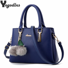 Trendy Hot Solid Colors Messenger Crossbody Bags for Female Fur Ball Pendant Hanging Bag Women Totes Simple Handbags