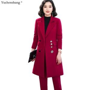 Image 2 - 2019 High quality Elegant women pant suit long blazer and pant 2 pieces sets suit green red black for office lady