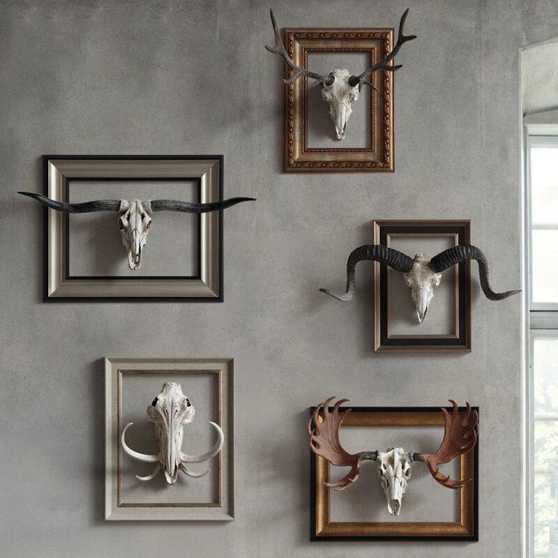 Статуя для дома, украшения, аксессуары, винтажная Аляска, лося, коза, скульптура черепа, Декор стены комнаты, смоляные горные статуи