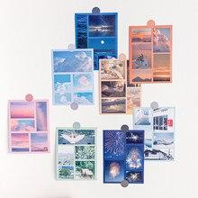 JIANWU-pegatina de la Serie Mundial flotante, pegatina decorativa de paisaje estético, álbum de recortes diario, suministros de papelería, 2 uds.