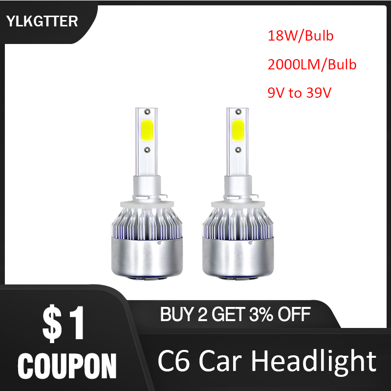 YLKGTTER C6 LED Car Headlight 880/881/H27 H1H3 <font><b>H7</b></font> H8H9H11 9005/H10/HB3 H1390089006/HB4 18W <font><b>2000LM</b></font>/Bulb 39V DIY Car Accessories image