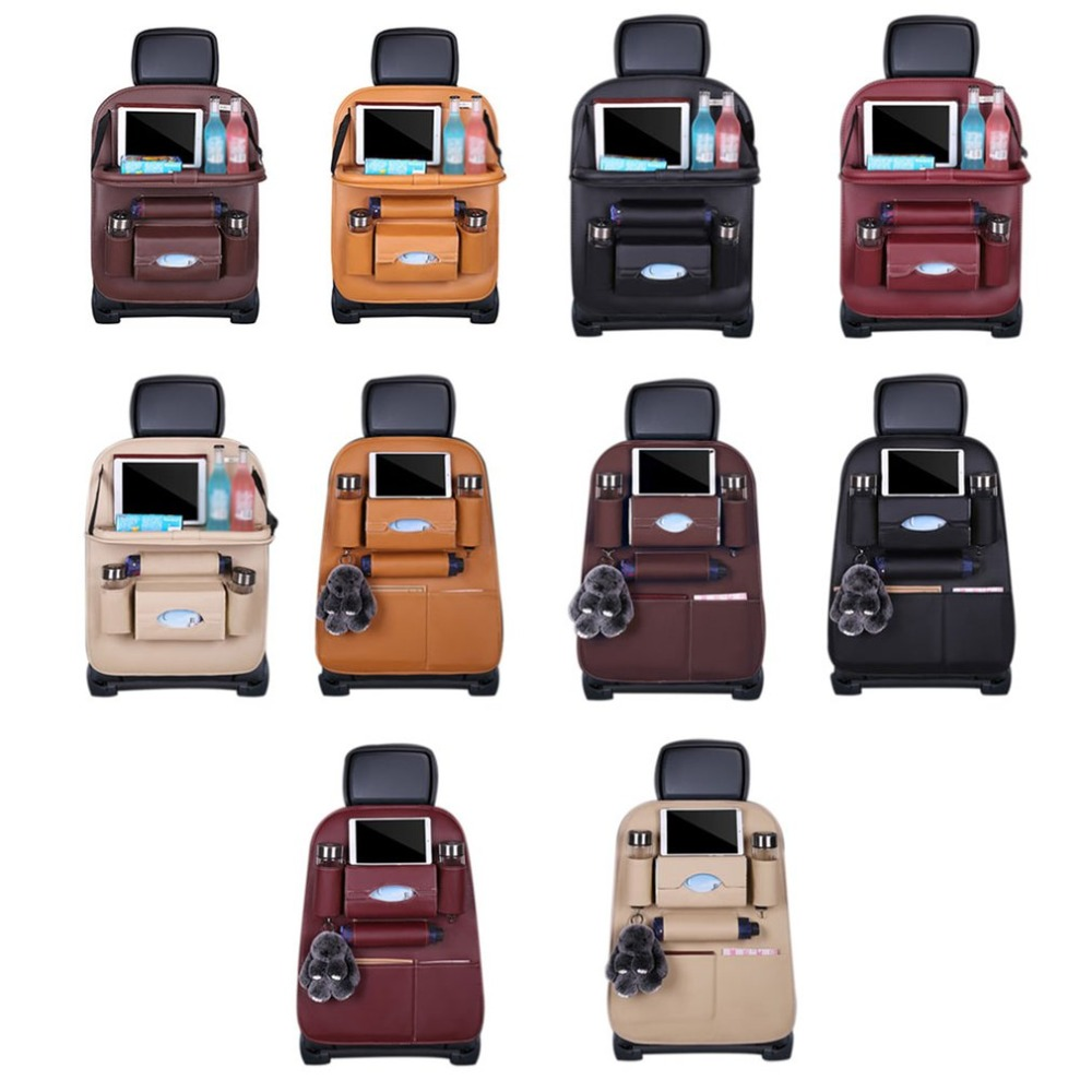 PU Leather Car Seat Back Organiser with Foldable Tray 3