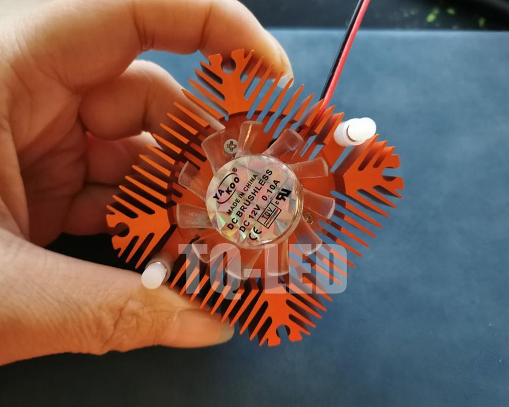 12V Aluminum Heatsink Radiator With Fan For 5W 10W 20W High Power Led Hole Distance 5.5cm