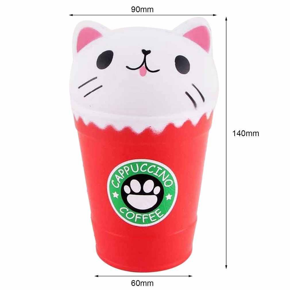 Brinquedo squishy kawaii copo de café cabeça de gato brinquedos perfumados prático lento subindo brinquedos de aperto anti-strss melhor presente aliviar o estresse brinquedos