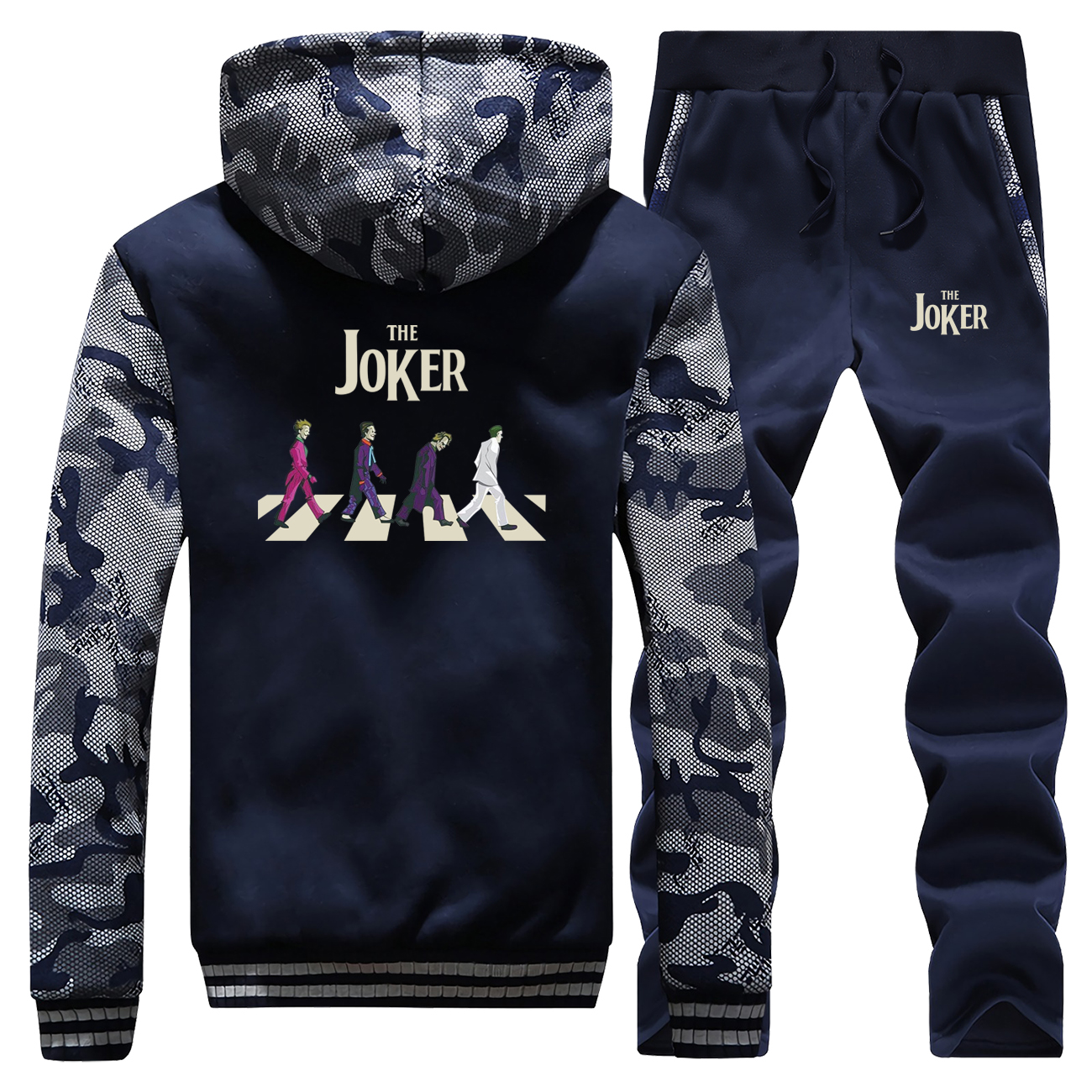 The Joker Male Set Funny Print 2019 Winter Jackets Set Men Thick Camo Hoodies Warm Fleece Men's Joker Sets Fashion Sweatsuit