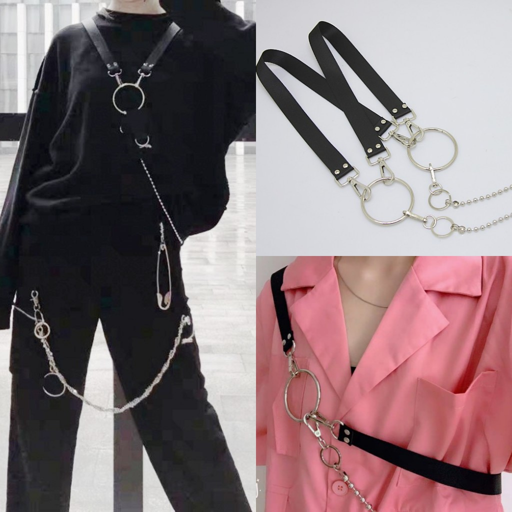 Harajuku Style Street Tactical Shoulder Strap Chain Women Belts Decorative Mens Belts Fashion Male Female Multifunctional Belt