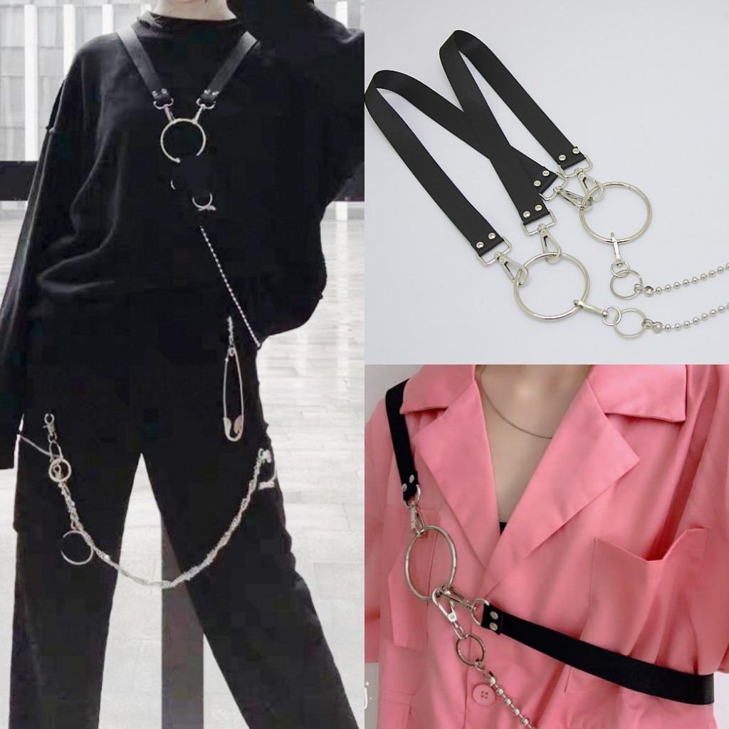 Harajuku Style Street Tactical Shoulder Strap Chain Women Belts Decorative Mens Belts Fashion Male Female Multifunctional Belt