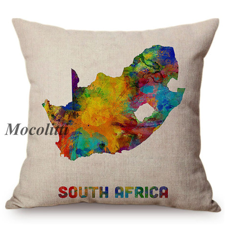 Prime Watercolor Africa Country Map Painting Home Decorative Sofa Pillow Case Cotton Linen Ghana Ethiopia Map Chair Seat Cushion Cover Onthecornerstone Fun Painted Chair Ideas Images Onthecornerstoneorg