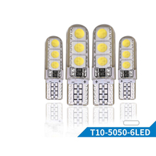 цена на 10PCs Car LED T10 Bulbs 12V 5050 6 SMD White Silicone W5W 194 Park Light Auto Trunk Lights Interior Dome Reading Door Lamp Bulb