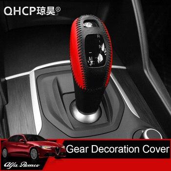 QHCP, кожаная ручка переключения передач, накладка, ручная швейная головка, декоративные наклейки, черный, красный, черный, коричневый, для Alfa ...