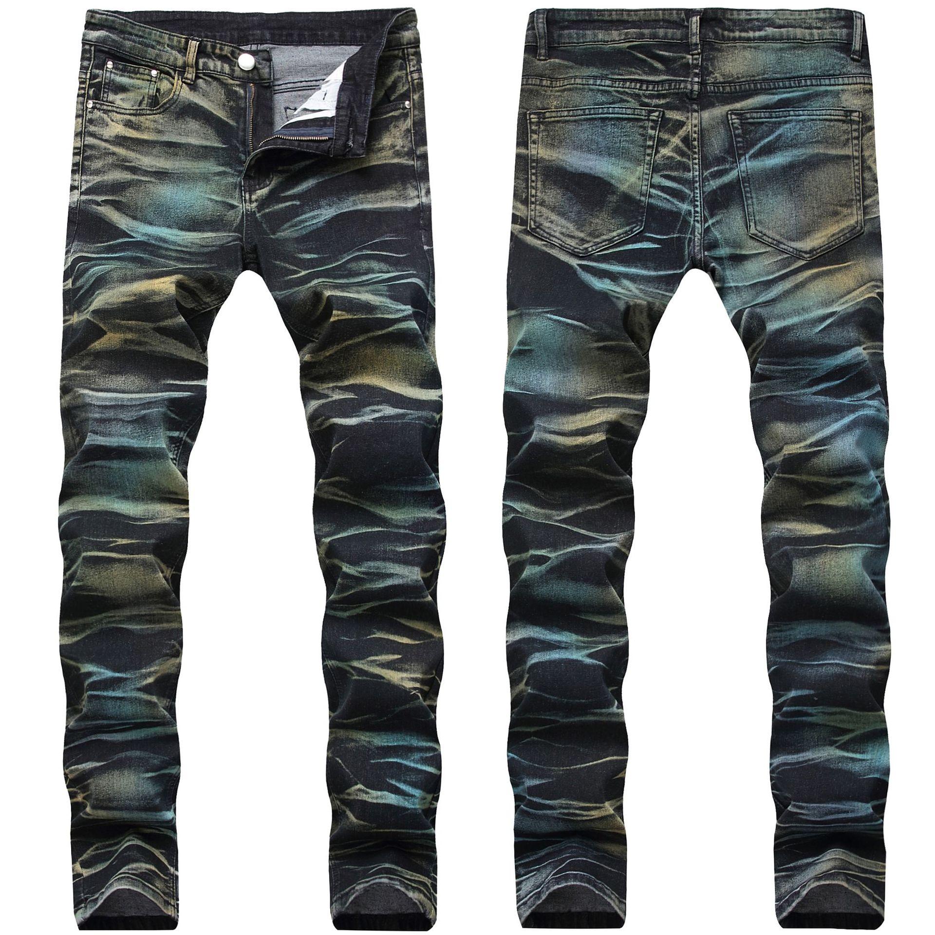 Original Design 2020 New Elastic Jeans Men's Pants Long Men Fashion Painted Jeans Stretch Straight Slim Printed Denim Trousers