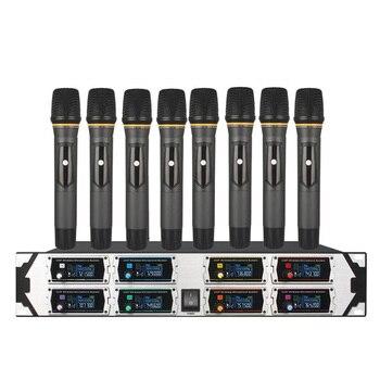 Professional wireless microphone u800gta 2uhf8 channel fixed frequency dynamic display manual KTV microphone