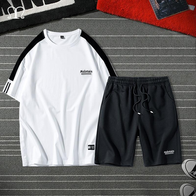 Short Sets Men Summer Printed Beach Sportsuit Male Sweatsuit Brand Loose Short TShirts Two Piece Tracksuit Men Chandal Hombre
