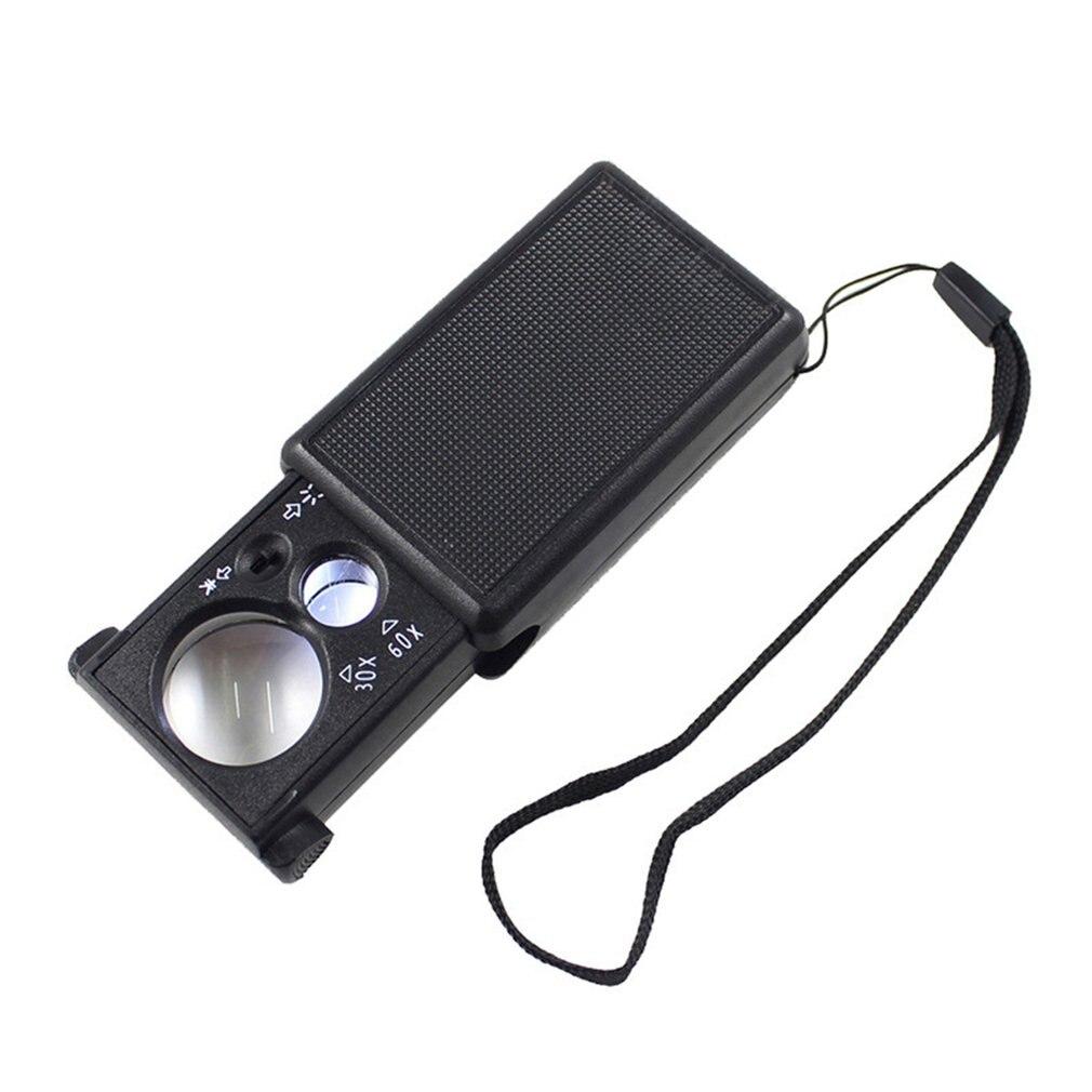 30X 60X Pull type Ювелирная Лупа Мини карманный ручная Лупа Стекло Портативный микроскоп Лупа оптическая инструмент для Объектива w/светодиодный свет|Лупы|   | АлиЭкспресс