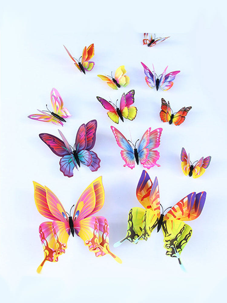 Wall-Sticker Decoration 3d Butterfly Double-Layer for 12pcs New-Style