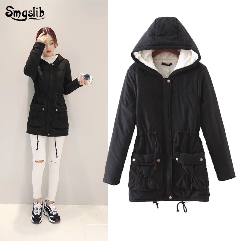 2019 Winter Women Jackets Cotton Padded Medium Long Slim Hooded Parkas Casual Wadded Quilt Snow Outwear Warm Overcoat
